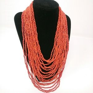 Red Seed Bead Multi-Strand Necklace Coral?